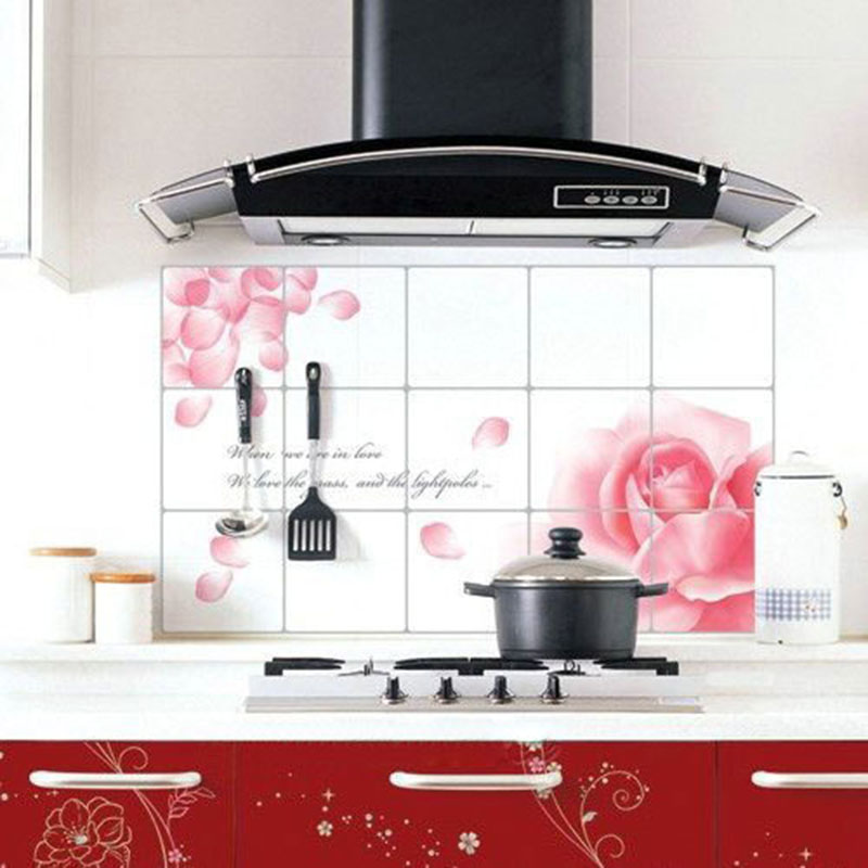 75*45Kitchen Wall Paper Sticker Water/Oil/Hot Proof Wall Cover Flower/Fruit/Sea Beach Oven Sticker Home Office Decoration Sticky