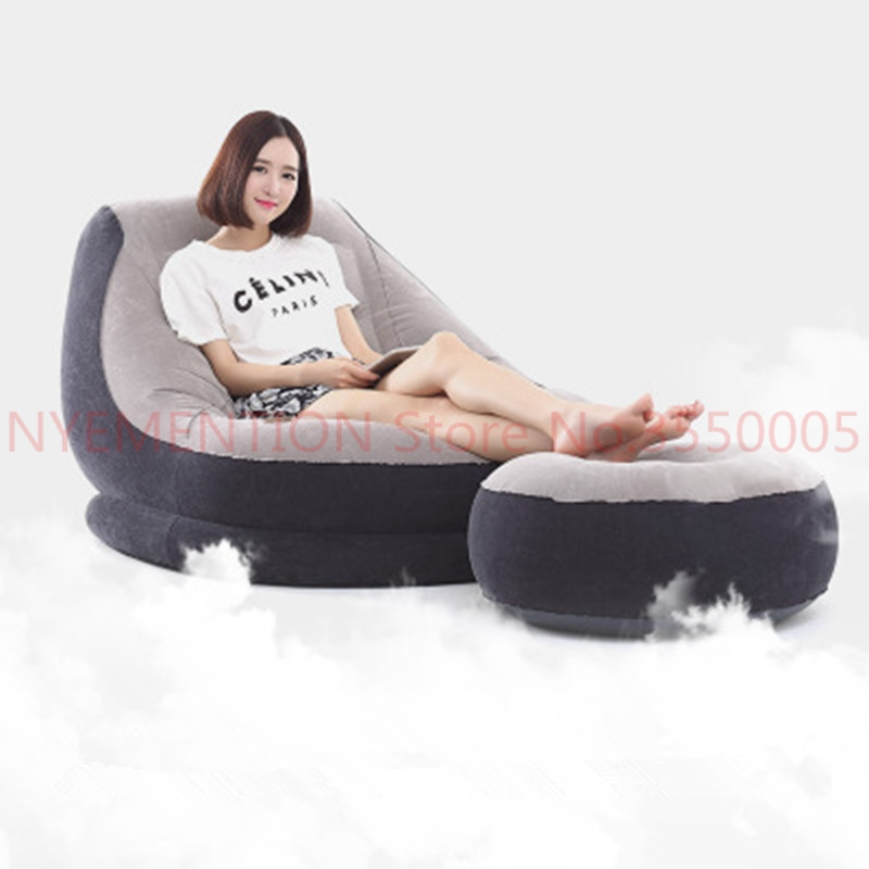 Flocking inflatable lazy sofa bed single sofa nap lounge modern simple bedroom chair with pedal,footstool bean bag chair 1pcs все цены