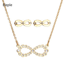 Eleple Stainless Steel Full Stone Bow Knot Necklace Earring Set Women Luxury Party Gifts Fashion Jewelry Dropshipping S-S009