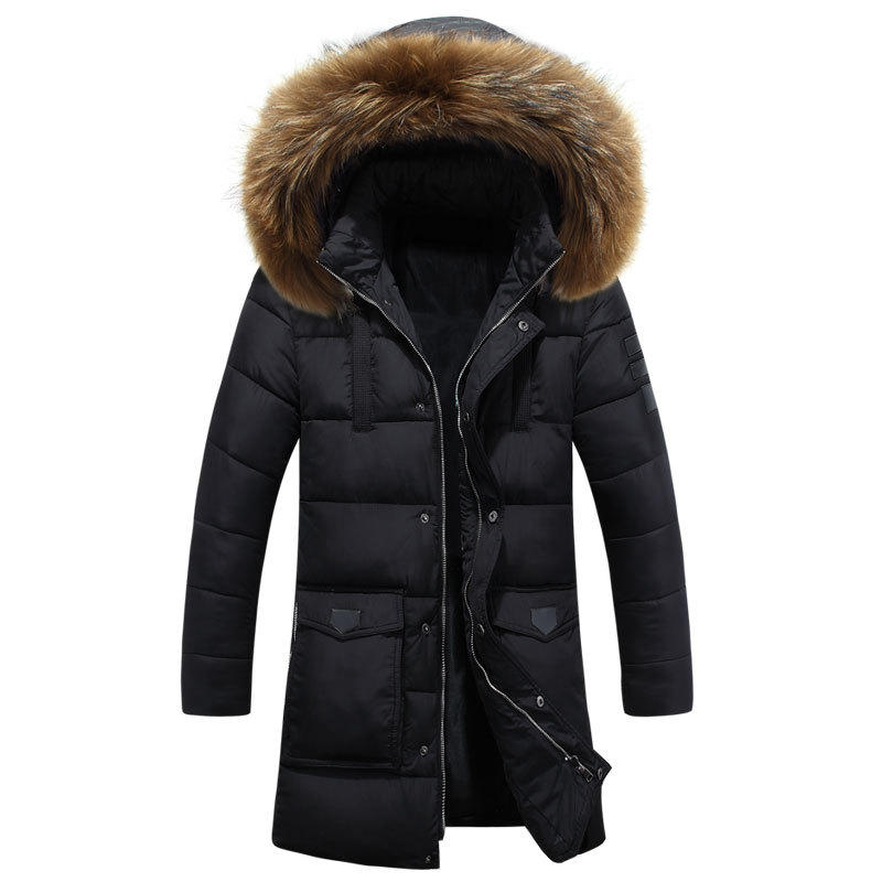 ФОТО 2016 New Casual Long Winter Jackets Mens Fur Collar Hooded Blouson Hiver Homme