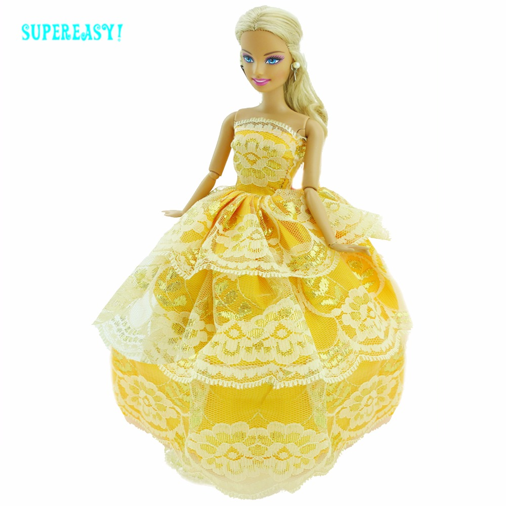 de69d0f19ea5 Fashion Yellow Dress Handmade Outfit Wedding Party Strapless Gown Lace  Skirts For Barbie FR Doll Clothes Dollhouse Accessories -in Dolls  Accessories from ...