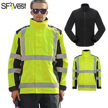SFVEST OIL TEARING RESISITANCE WATERPROOF WINDPROOF WINDBREAKER THERMAL WINTER REFLECTIVE SAFETY JACKET PARKA FREE SHIPPING