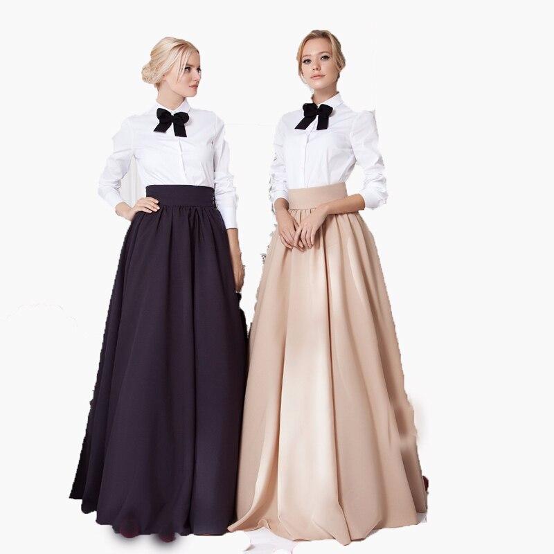 Kadın Giyim'ten Etekler'de Chic İmparatorluğu Uzun Saten Kadın Etekler Zarif Kadınlar Için Yüksek Geniş Bel Görünmez Fermuar Kat Uzunluk Etekler Maxi Saia'da  Grup 1