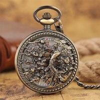 Men S Steampunk Skeleton Mechanical Pocket Watch Phoenix Retro Luxury Pendant Pocket Fob Watches Chain Male
