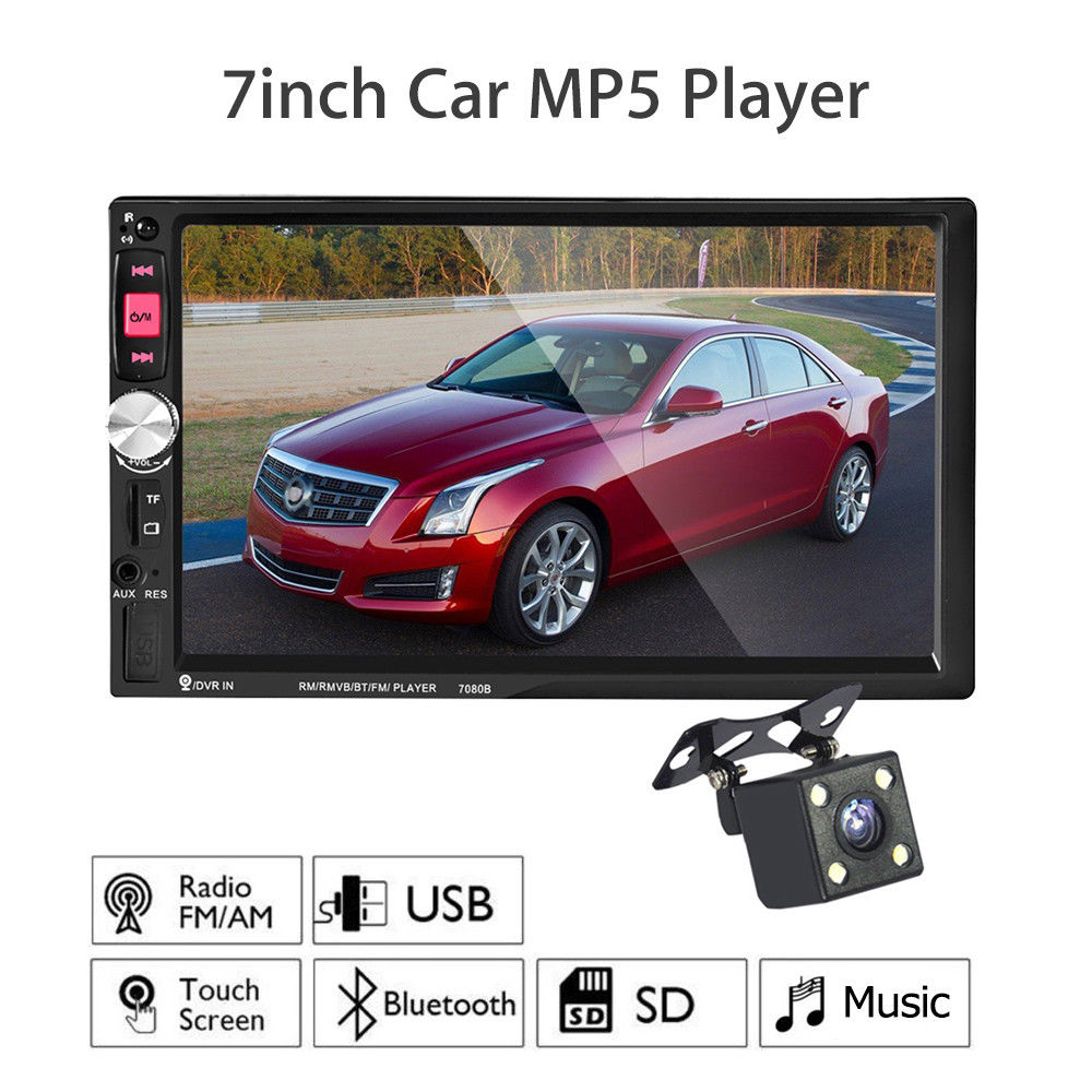 WONVON 7080B Bluetooth Car Video Player Touch Screen USB/TF/AUX with Rearview Camera Stereo 2 Din Universal new 7 inch hd 2 din bluetooth car audio stereo fm mp5 player with touch screen rearview camera support aux usb tf phone