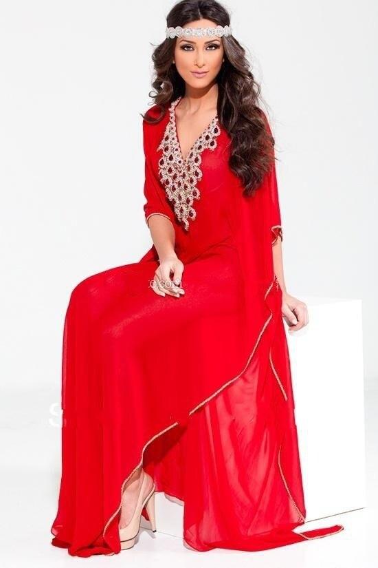 À la mode arabe dubaï Abaya bijou perlé col en V en mousseline de soie robe de bal de soirée avec manches rouge et bleu mère des robes de mariée