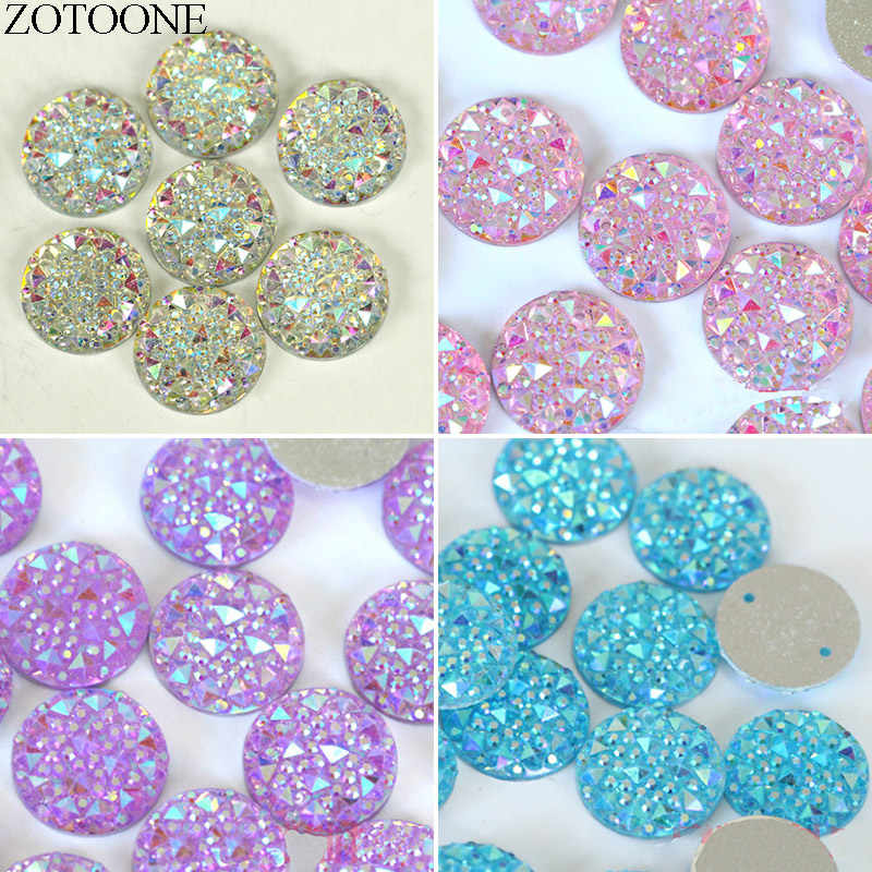 ZOTOONE 14mm Crystal AB Colors Round Sew On Rhinestones Sewing Crafts Flatback Resin Sewing Rhinestone For Clothes Garments E