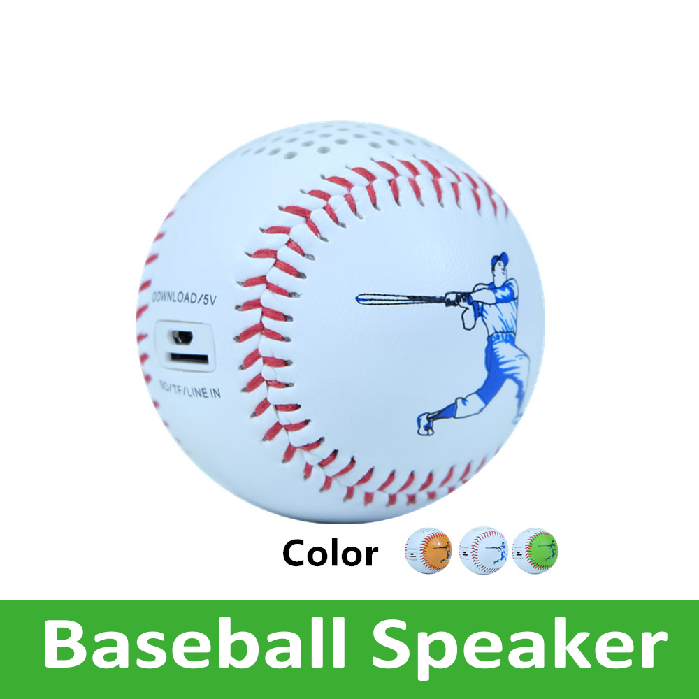 Mini Portable Bluetooth Speaker Wireless subwoofer <font><b>600mah</b></font> Audio Player USB Line in with Baseball Real Size and Feeling