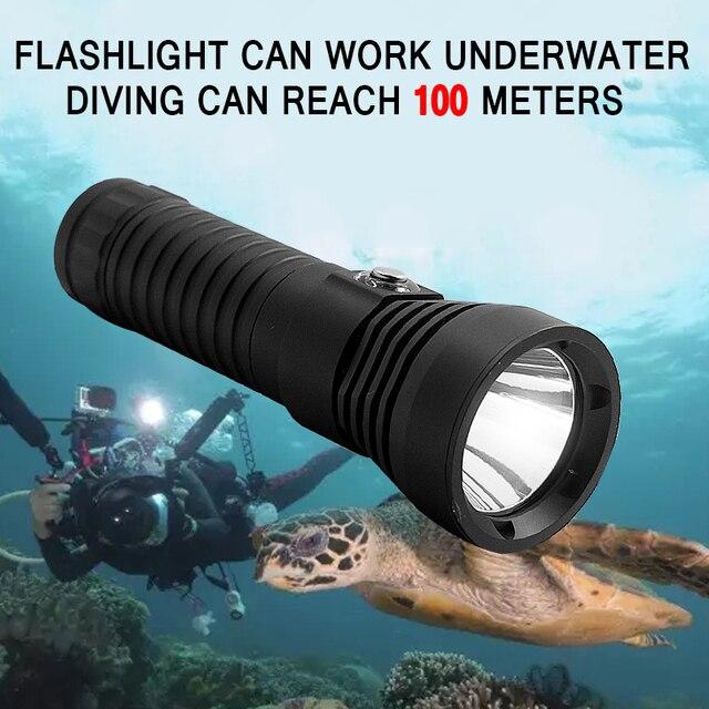 Водонепроницаемый L2 светодиодный фонарик Дайвинг 2000 люмен XM-L2 погружения Фонари Белый Свет Подводный факел 18650 лампы для кемпинга охота
