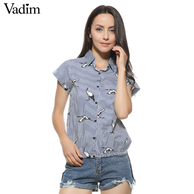 Birds Print Loose Blue Striped Collar Short Sleeve Shirts
