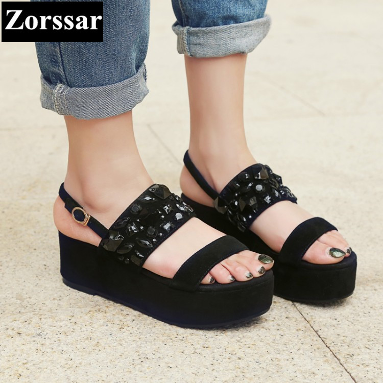 Summer shoes Women Casual Platform rhinestone High heels wedges sandals woman 2017 Fashion Suede leather womens peep toe pumps plus size 2017 new summer suede women shoes pointed toe high heels sandals woman work shoes fashion flowers womens heels pumps