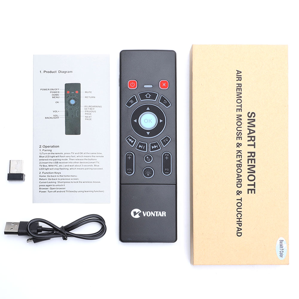 VONTAR T6 Plus Backlit Russian English 2.4GHz Air mouse Wireless Keyboard & touchpad Remote Control for Android TV Box mini PC