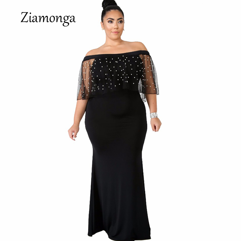 Ziamonga Off Shoulder Mermaid Maxi Dress Plus Size XXXL Women Clothing Beading Ruffles Slash Neck Bodycon Dress Sexy Vestidos