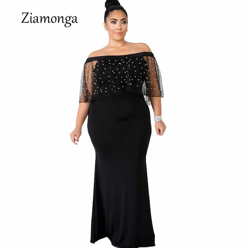 7f5d67463c Rosegal Plus Size One Shoulder Sleeveless Sequined Mermaid Dress ...