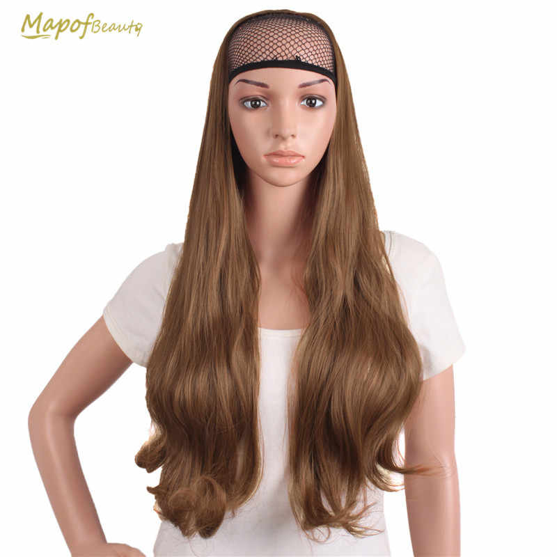 MapofBeauty Black Dark Light Brown 3/4 Half Wigs Long Curly Synthetic Wig Heat Resistant Clip In Hair Extensions False Hairpiece