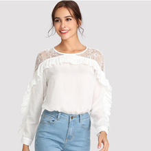 Women Casual Lace Blouses Lady Splicing Pleated Ruffled Long Sleeve Lace Chiffon Shirt  Women Blouses New