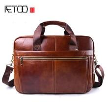 AETOO Brand Genuine Cowhide Leather Mens Business Briefcase Laptop Bags Men's Travel Bag Portfolio Men Shoulder Bag Man Handbag цена 2017