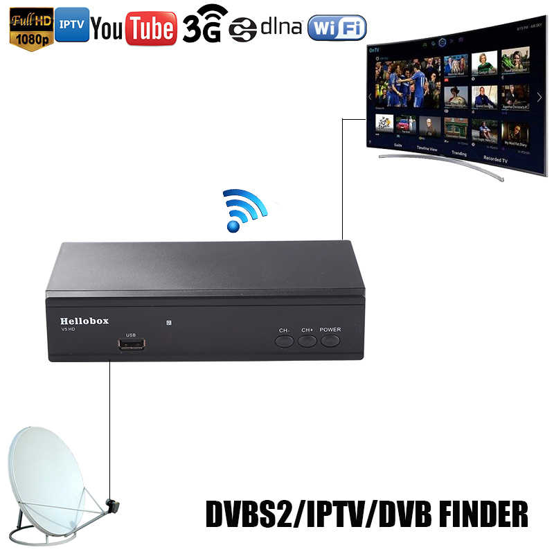 Hello box V5 Satellite Receiver DVBS2 IPTV Online Software Upgrade Support  CCCAM Newcam Mgcam SCAM 2 Year TV BOX