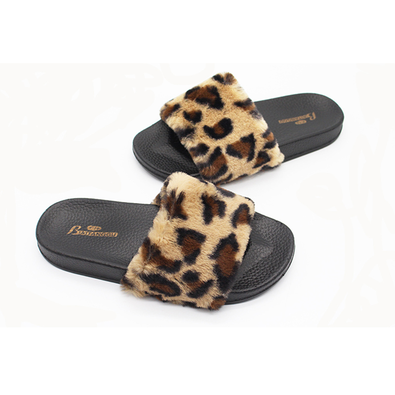 New Fashion Women Slippers Zapatos Mujer Ladies Slip On Sliders Fluffy Faux Fur Flat Female Casual Slipper Flip Flop Sandal ABC