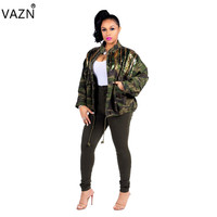 VAZN Autumn 2018 Hot Sale Exotic Designer Casual Style Women Outwears Camouflage Loose High Street Lady Outwears ME160