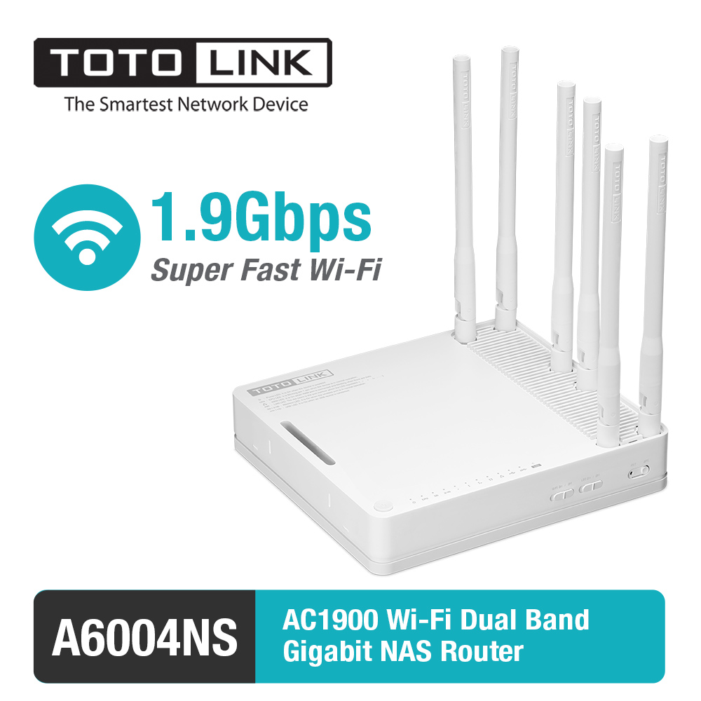 TOTOLINK A6004NS AC1900 Dual Band Gigabit Router Wi-fi/Access Point/WiFi Repeater com 6 Antenas Destacáveis, Firmware inglês