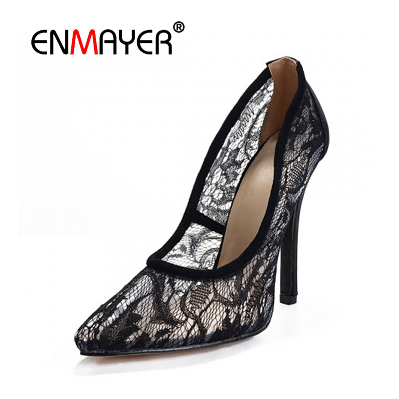 ENMAYER Pointed Toe Sexy Black Lace Party Wedding Shoes Woman High Heels Shallow Pumps Plus Size 35-46 Thin Heels Slip-on Pumps sexy black leather pointed toe high heels pumps shoes newest woman s lace up thin heels shoes party shoes
