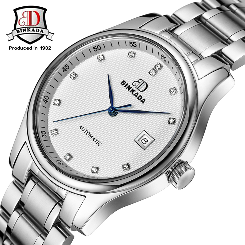 2017 New automatic mechanical military BINKADA brand full steel watch relogio mens fashion leather strap men luxury watches
