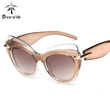 DRESSUUP 2017 Newest Vintage Sunglasses Women Brand Designer Cat Eye Reflective Sun Glasses Lentes Oculos De Sol Feminino