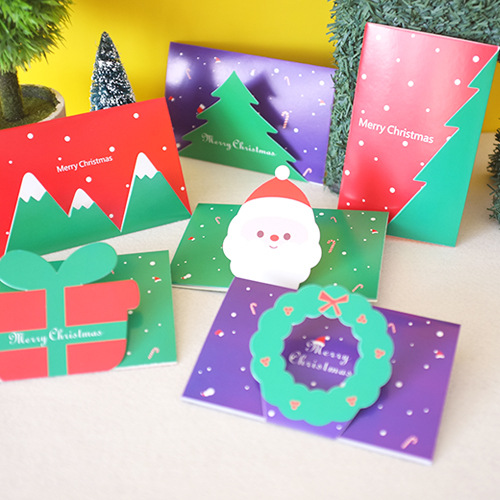 6pcs/lot Merry Christmas Card Candy Color 3 Folding Greeting Card Postcard Birthday Letter Envelope Gift Card Message Card