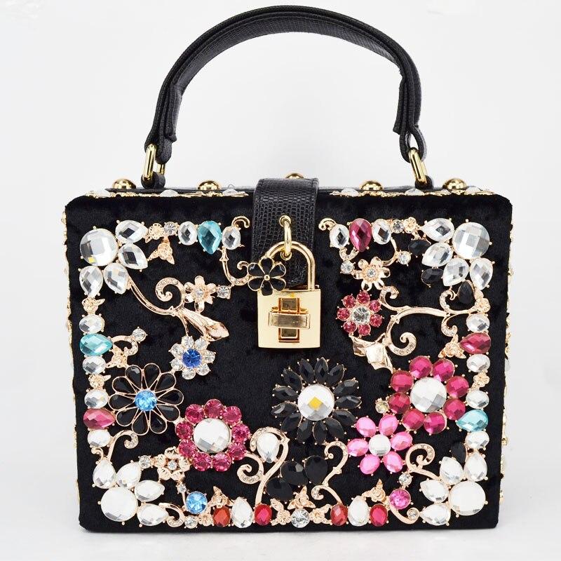 Fashion Diamond Evening bag Luxury diamond women handbag Ballot lock shoulder bag messenger bag velvet font