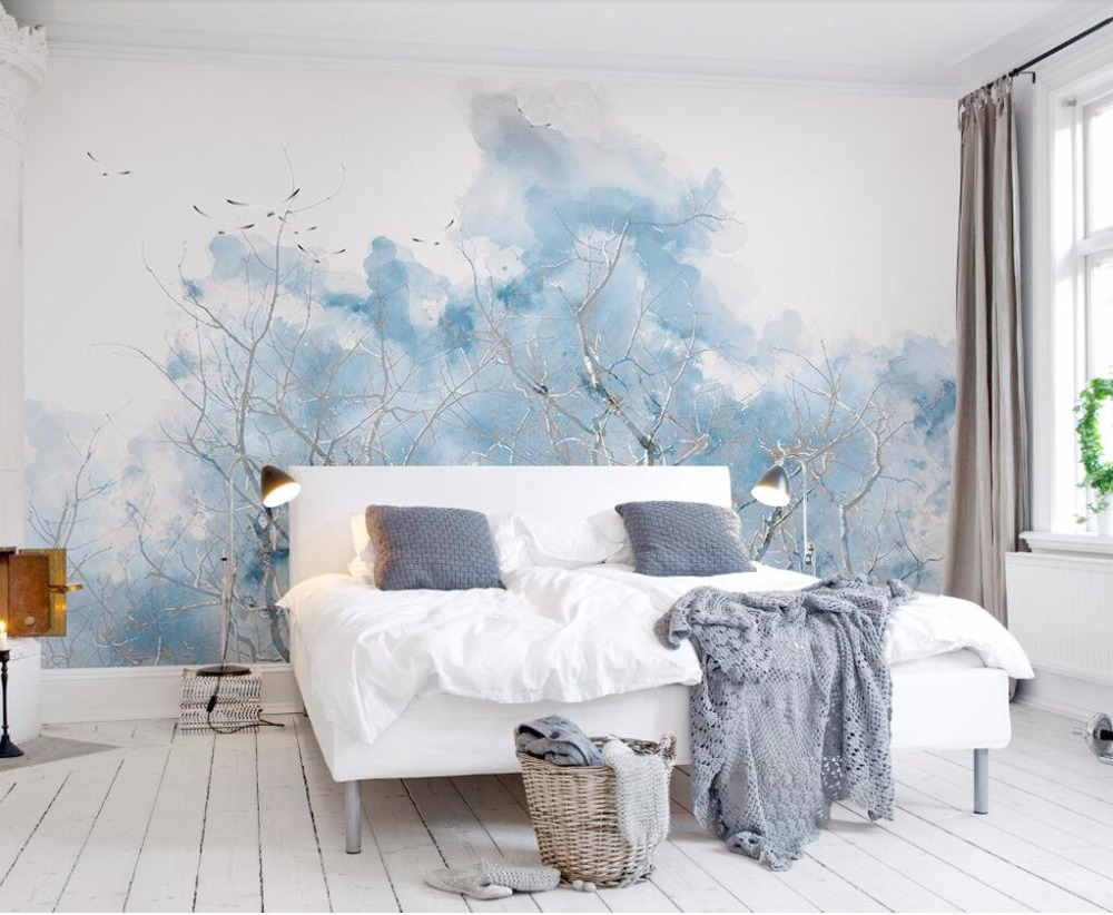 Beibehang Custom Wallpaper Pale Blue Nordic Simple Branch Watercolor Bird TV Sofa Background Living Room Bedroom 3d Wallpaper