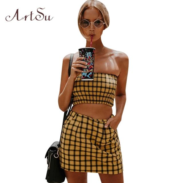 ArtSu Fashion Crop Top and Skirt Set Two Piece Set 2018 Summer Girls Women Cropped Cami High Waist Skirts Beach Suit ASSU30148