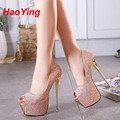 peep toe pumps party shoes women shoes high heels pumps paillette platform heels pink white wedding shoes sapato feminino D384