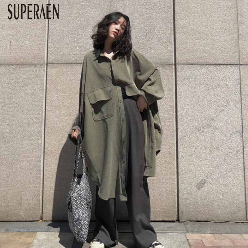 SuperAen 2019 New Korean Style   Trench   Coat for Women Wild Cotton Autumn Casual Ladies Windbreaker Solid Color Women Clothing