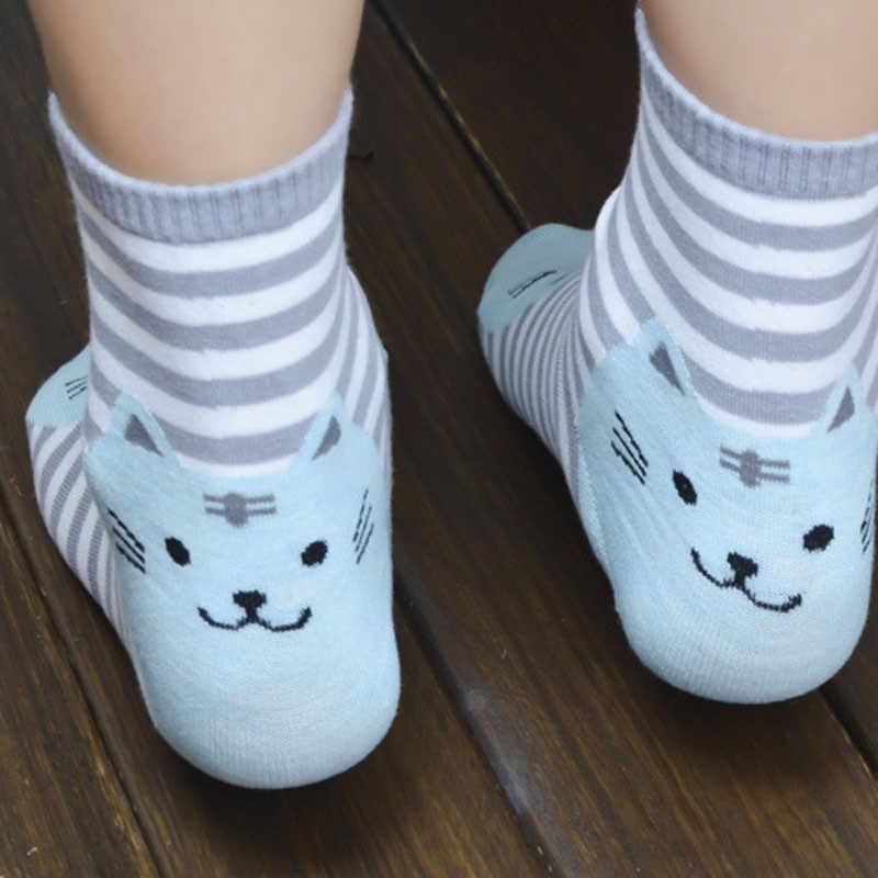 Ücretsiz devekuşu 1 çift Unisex popüler 3D hayvanlar çizgili karikatür çorap kadın kedi ayak izleri pamuk çorap bayan yaz çorap 2019