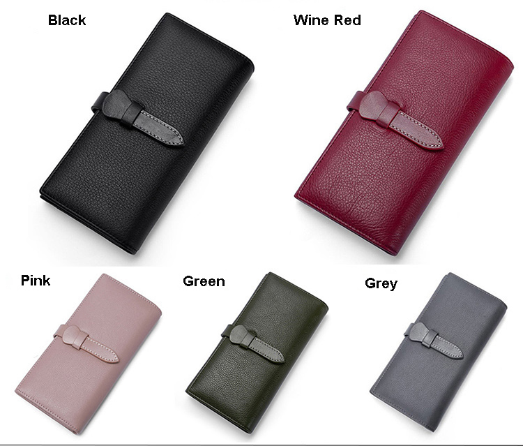 New Genuine Leather Coin Purse First Layer Cowhide Tri fold Long Female Wallet Natural Wrestling Fashion Cow Leather Wallet