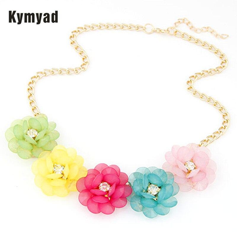 Kymyad Fashion Jewelry Elegant Resin Flower Necklace Choker Necklace Women Collar Necklace Gold Jewelery Necklace Wholesale