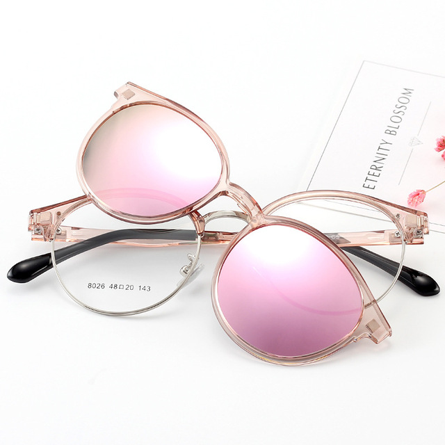 f9c2ff2a1a3 Cubojue Women s Clip on Sunglasses Polarized Magnetic Lens Round Glasses  Frame Pink Blue Mirrored Fit Over Myopia Eyeglasses