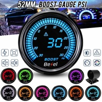 2 52mm Car Turbo Boost Pressure Gauge Meter Digital LED Display w/Sensor 30PSI Gauge Holder Free