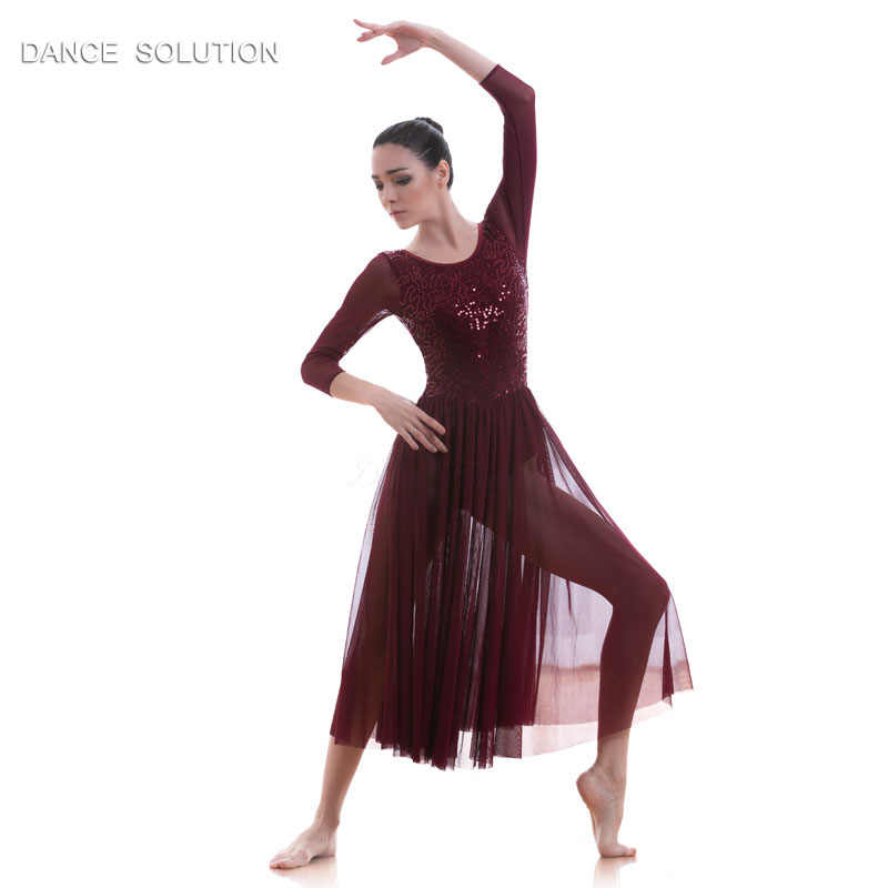 10728ad285757 ... Ballet Costume Lyrical & Contemporary Dance Dress Mesh LeotardWomen &  Girl Stage Costume Wear Burgundy Sequin ...
