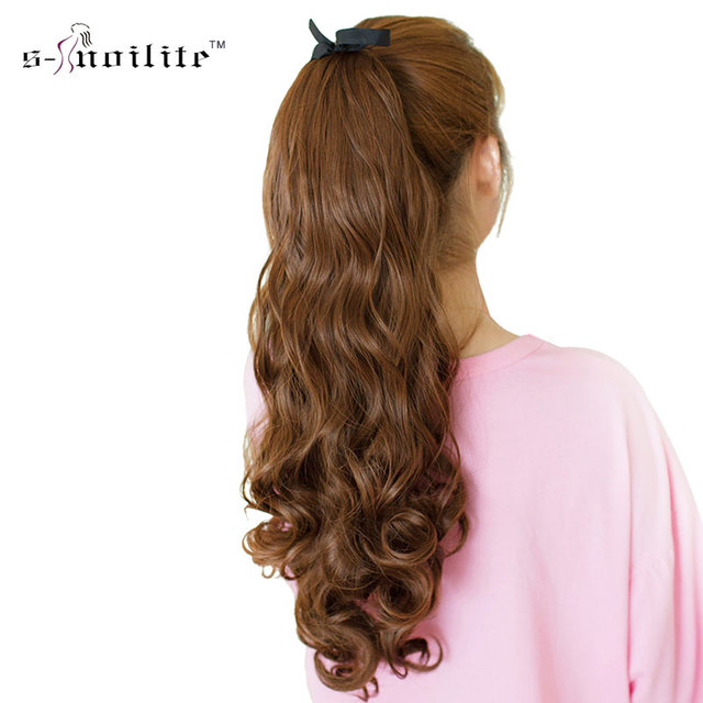 Snoilite 18inch Synthetic Wavy Ponytail Extension Dark Brown Black
