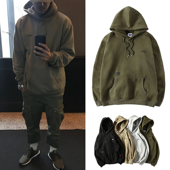 AreMoMuWha Tide Brand Port Wind  Men's Hoodies Spring and Autumn Models Plus Velvet Casual Coat Head Japanese Loose Caots QX209