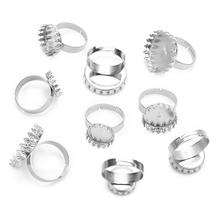 купить 10Pcs/lot 12/15/20mm Stainless Steel Round Beer Cover Adjustable Ring Flat Blank Cabochon Tray DIY Jewelry Findings Rings Base по цене 161.92 рублей
