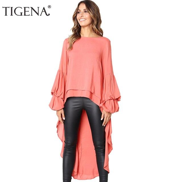 d3a4e3aff17 TIGENA Black White Orange Short Front Long Back Chiffon Blouse Shirt Women  2018 Autumn Winter Long Sleeve Tops Chemise Femme