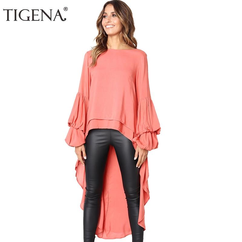 TIGENA Black White Orange Short Front Long Back Chiffon   Blouse     Shirt   Women 2018 Autumn Winter Long Sleeve Tops Chemise Femme