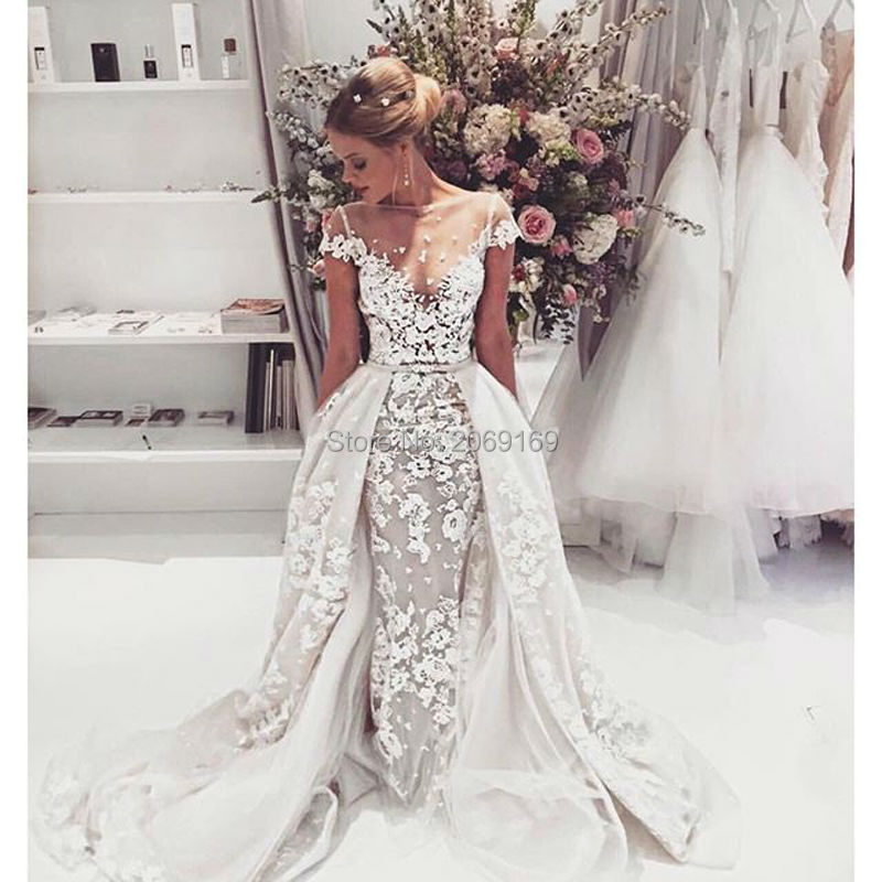 2017 New Vestido De Noiva Mermaid Embroidered Lace On Net Wedding Dresses Scoop Neck Short Sleeves Bridal Gown Robe Mariee In From