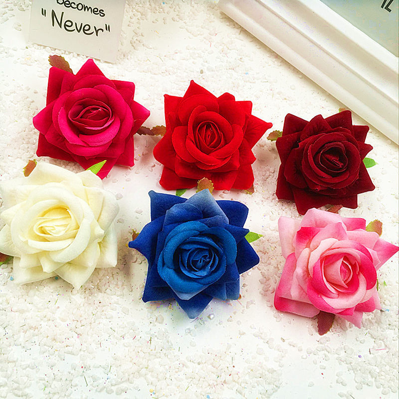 6 PCS (6 cm bunga) buatan sutra beludru bunga mawar kepala bunga perhiasan  rumah tangga 4850d3b510