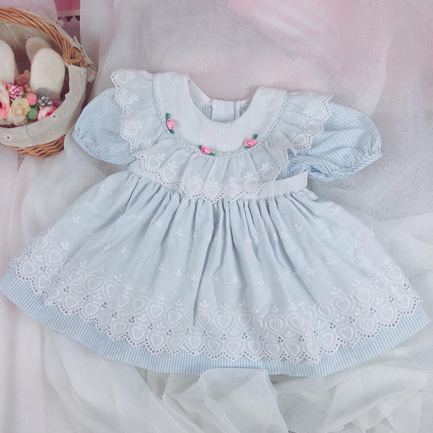 2019 été espagnol Vintage filles robe dessin animé broderie dentelle épissé princesse robe Modis Boutique robe enfants Vestidos Y1676