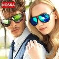 NOSSA Anti-Ultravioleta gafas de Sol de Película en Color Plata Espejo Marco Grande Gafas de Sol