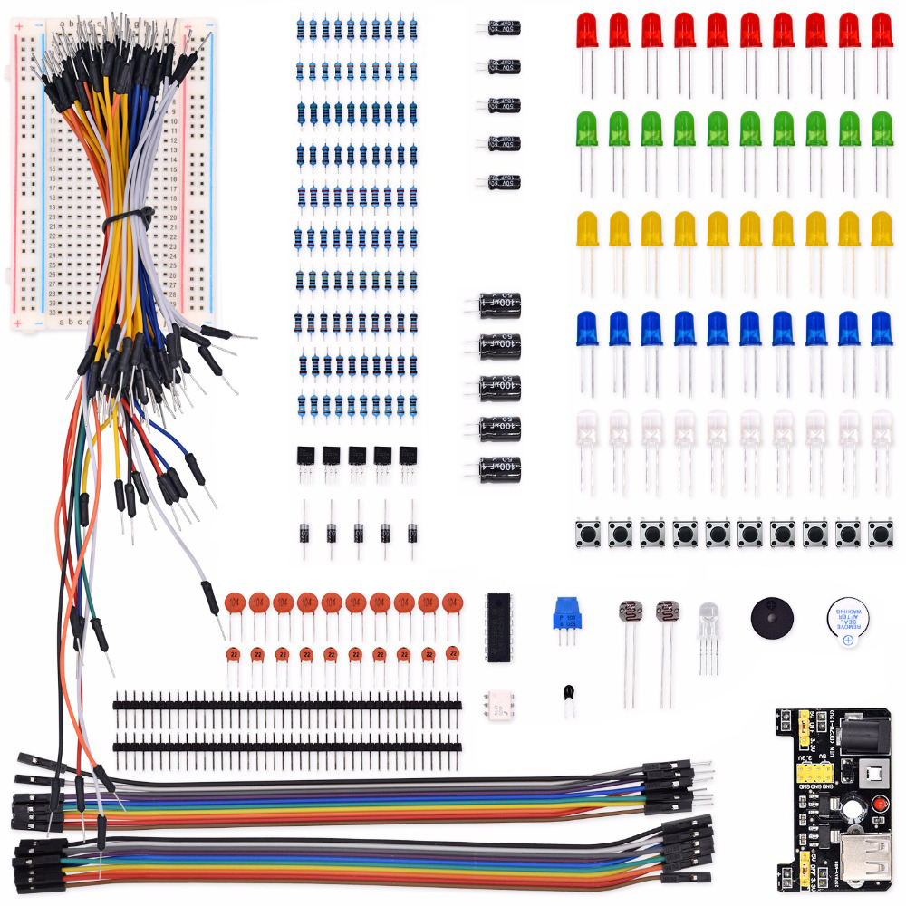 Electronics Component Basic Starter Kit With Breadboard Cable Resistor, Capacitor, LED, Potentiometer For Arduino